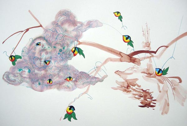 """Hooks ,2005 Ink and acrylic on paper 19"""" x 26"""" framed"""