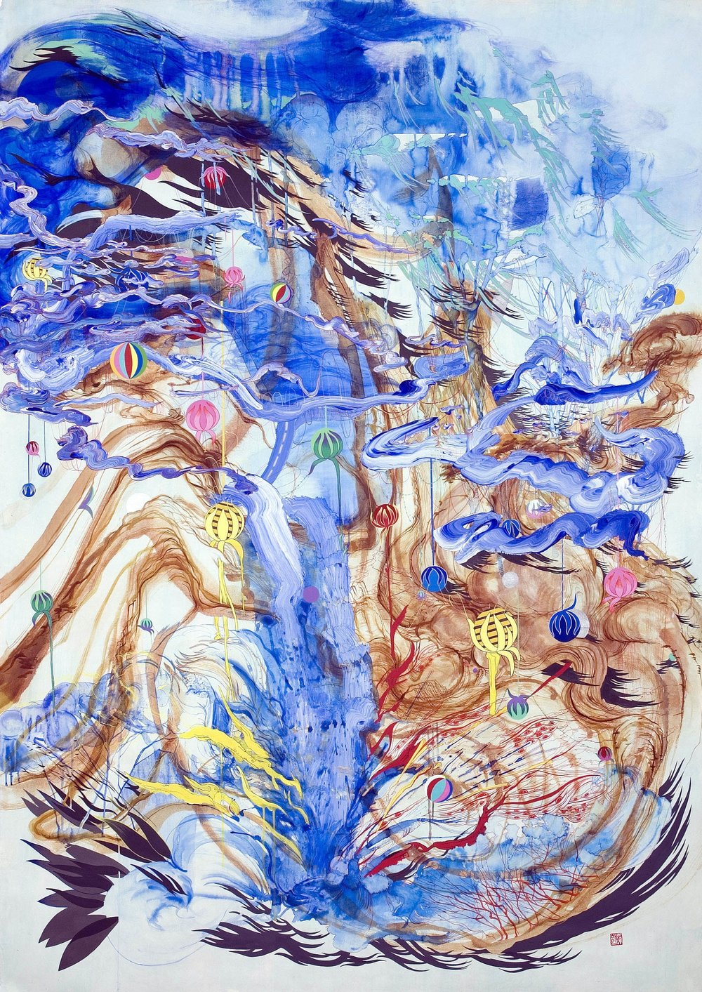"""Haven ,2006 Ink and acrylic on paper 92.25"""" x 68"""" framed"""