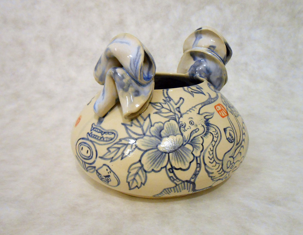 "Love Dragon Face Jug , 2014 Earthenware ceramic 6.5"" x 8"" x 8"""