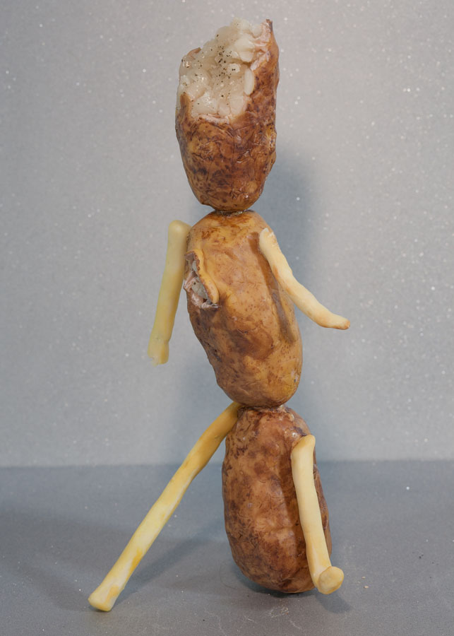 "Potato Boy (Baked & Fried) , 2016 Brass sheet, steel wire, epoxy resin, wax, foam, acrylic paint, oil paint 12"" x 6"" x 4"""