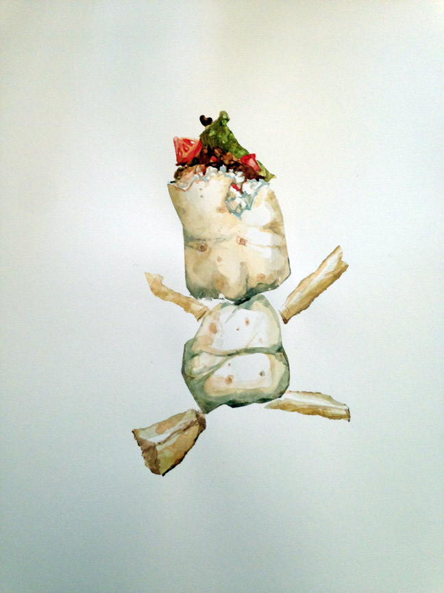 "Baby Burrito , 2016 Watercolor 21"" x 15"""