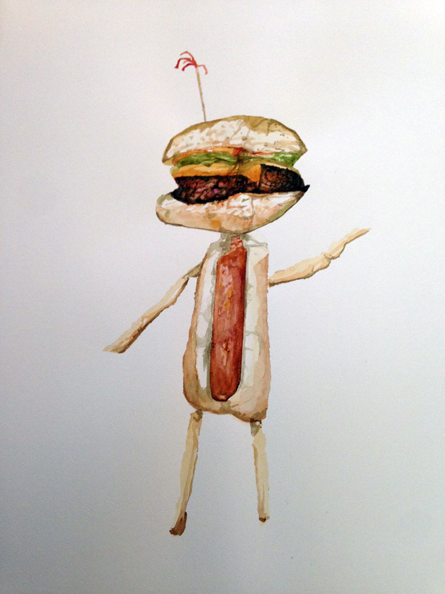 "Grill Guy , 2016 Watercolor 21"" x 15"""