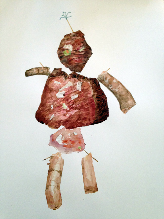 "Mr. Meat Loaf , 2016 Watercolor 21"" x 15"""