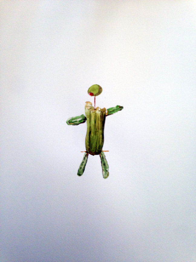 "Party Pickle , 2016 Watercolor 21"" x 15"""