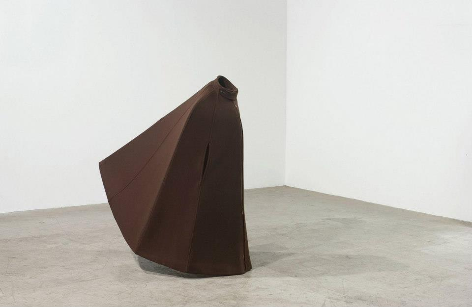 "Jeff Spaulding  Blind   2001 Wool, steel 66"" x 52"" x 40"""