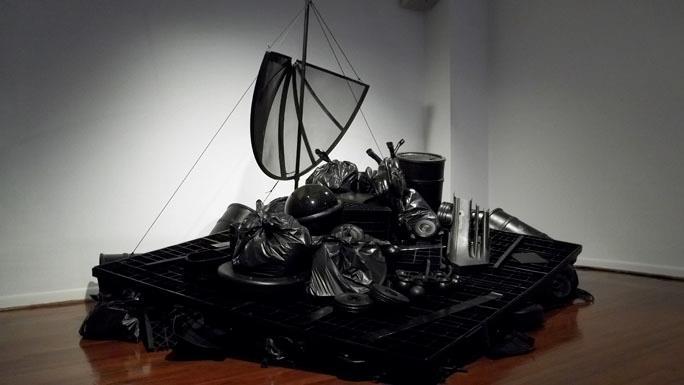 "Jeff Spaulding  Raft   2011 polyethylene, steel 136"" x 160"" x 100"""