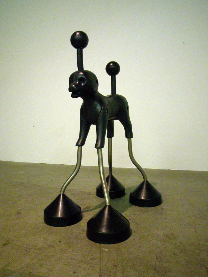 "Jeff Spaulding  Standard Deviant   2005 steel, plastic 42"" x 28"" x 30"""