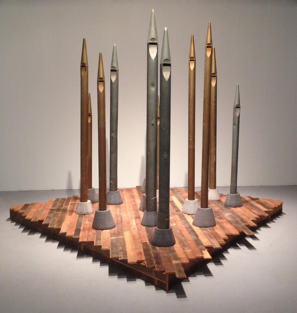 Jefferson Pinder  Moriaen's Shadow   2015 galvanized steel organ pipes, cement, wood platform, audio 15 minutes variable dimensions installed