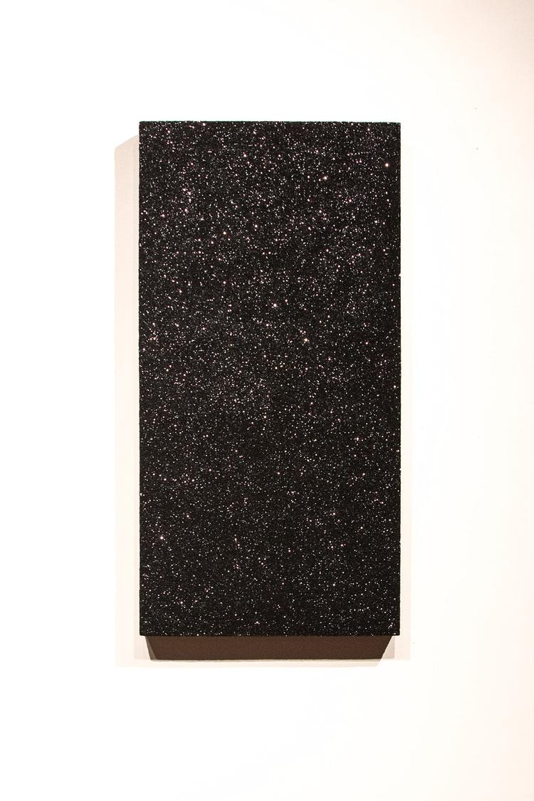 "Jefferson Pinder  Stellar Plane   2014 Ink and glitter on hardwood panel 48"" x 24"" x 3.5"""