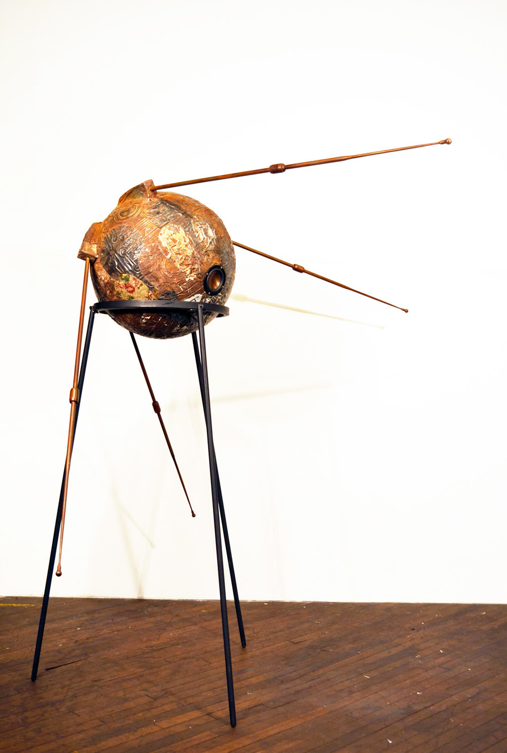 "Jefferson Pinder  Funknik   2014 tin from Baltimore houses, floor tile, antennae, steel, wood, speakers, 45 minute audio track c. 80"" x 60"" x 52"""