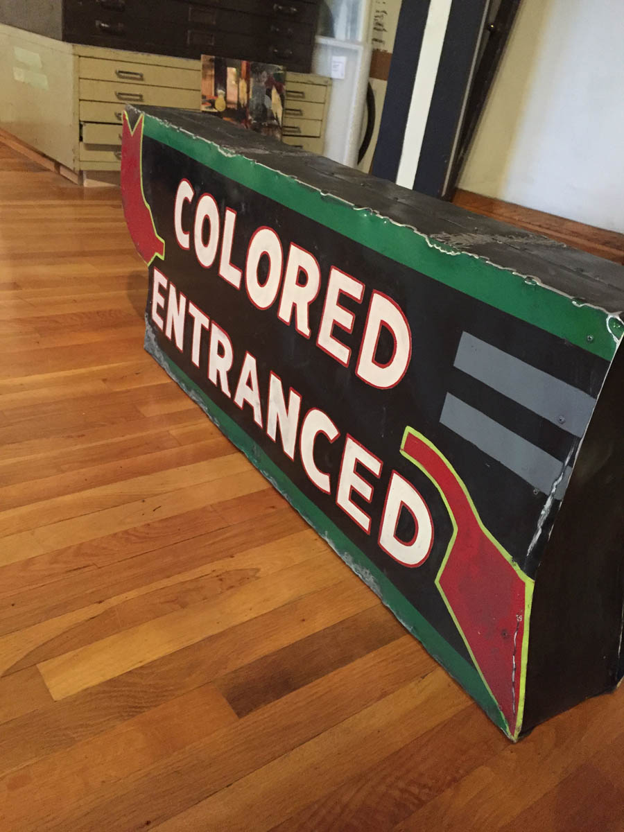 "Jefferson Pinder  Colored Entranced   2017 tin, armature, paint 19"" X 48"" X 7.5"" Hanging apparatus separate. Edition of 2"