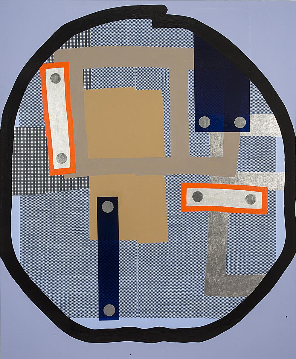 Tim Doud  CDGJWMPR (Blue /Black) L  68 x 56 in. Acrylic, Flashe, Spray Paint, Oil Enamel on Canvas 2016-17