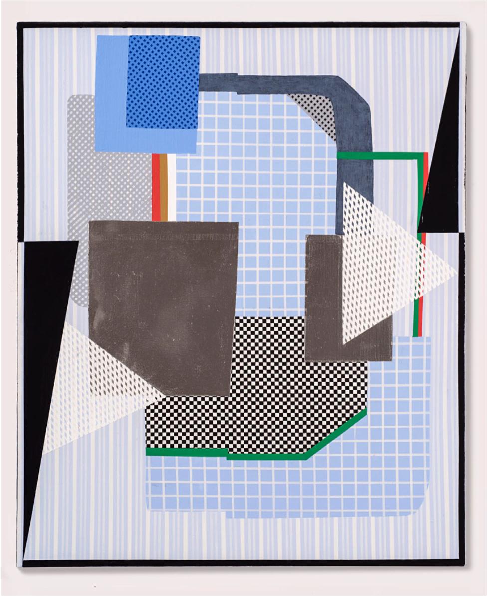 Tim Doud  CDGJWCH (Black M)  34 x 32 in. Acrylic, flashe, spray paint, oil enamel on canvas 2017