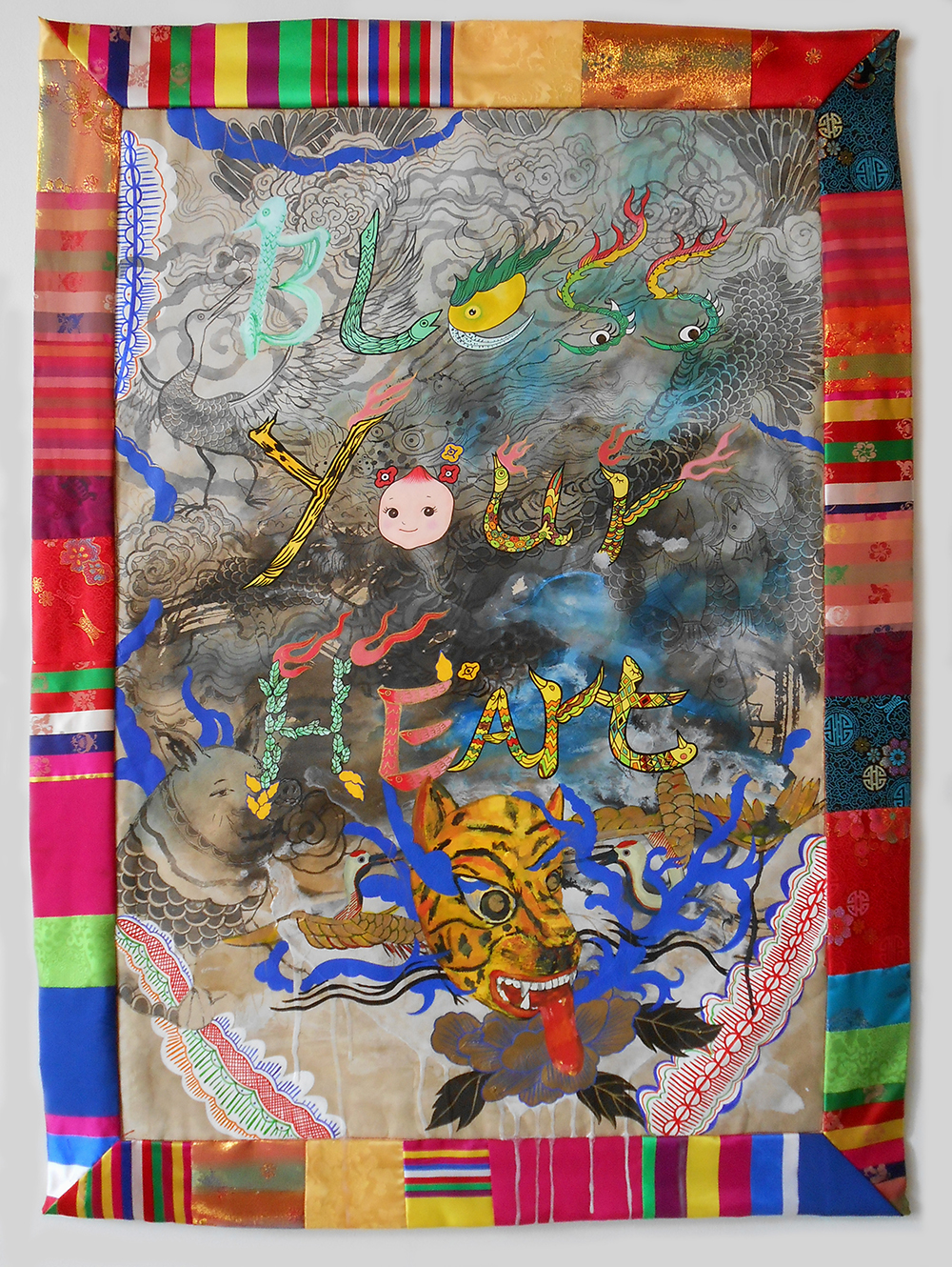 "Jiha Moon  Bless Your Heart  Ink and acrylic on Hanji paper, quilted border 39"" x 28.5"" 2014"