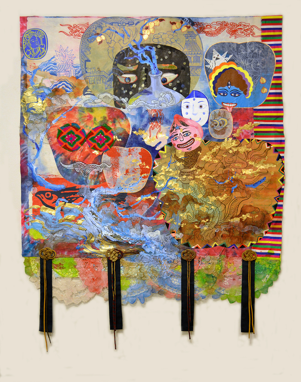 """Jiha Moon  El sueño del viajero  Ink and acrylic on Hanji paper, shoelaces, doily, tie-dye fabric 41"""" x 31"""" 2014"""
