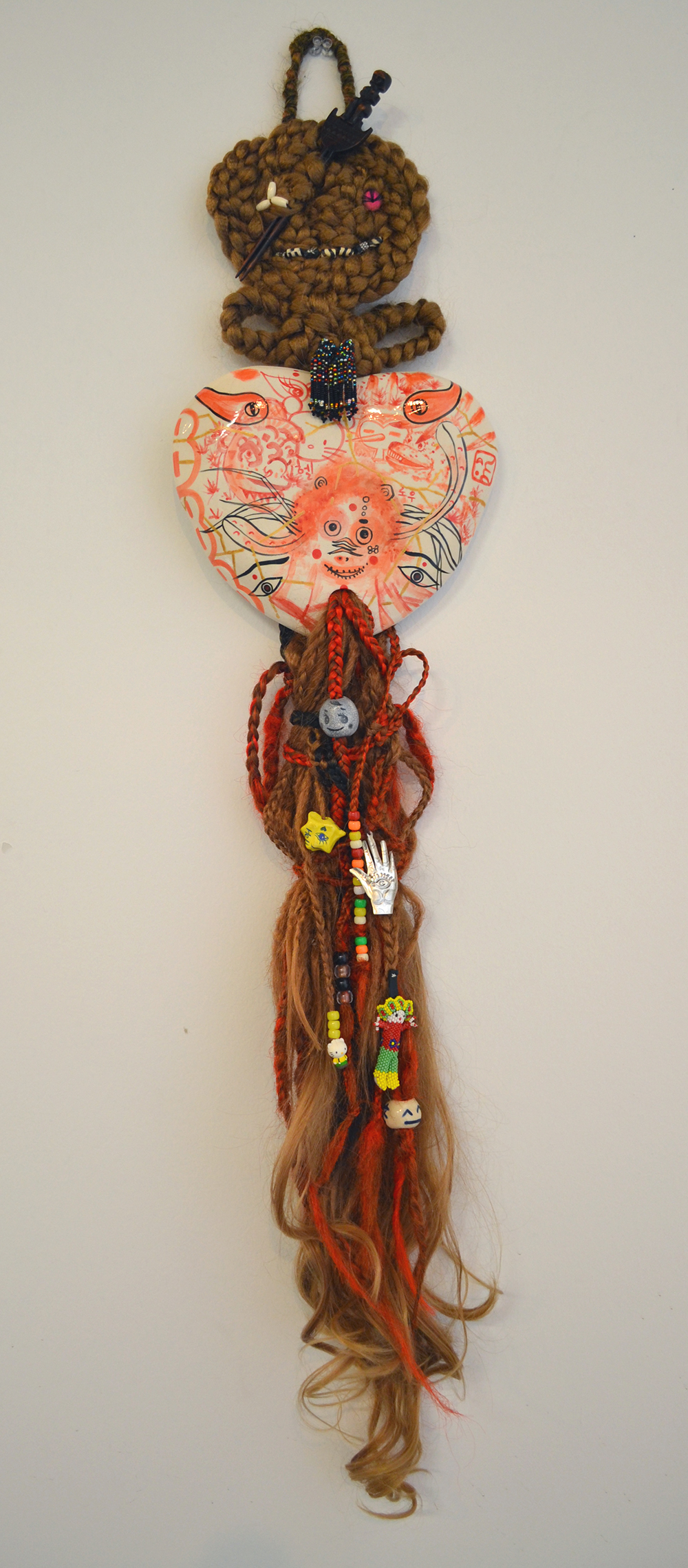"Jiha Moon  Hello Monkey  Ceramic, hand-knotted synthetic hair, pony beads, found objects, thread 46"" x 9.25"" x 2"" 2013"