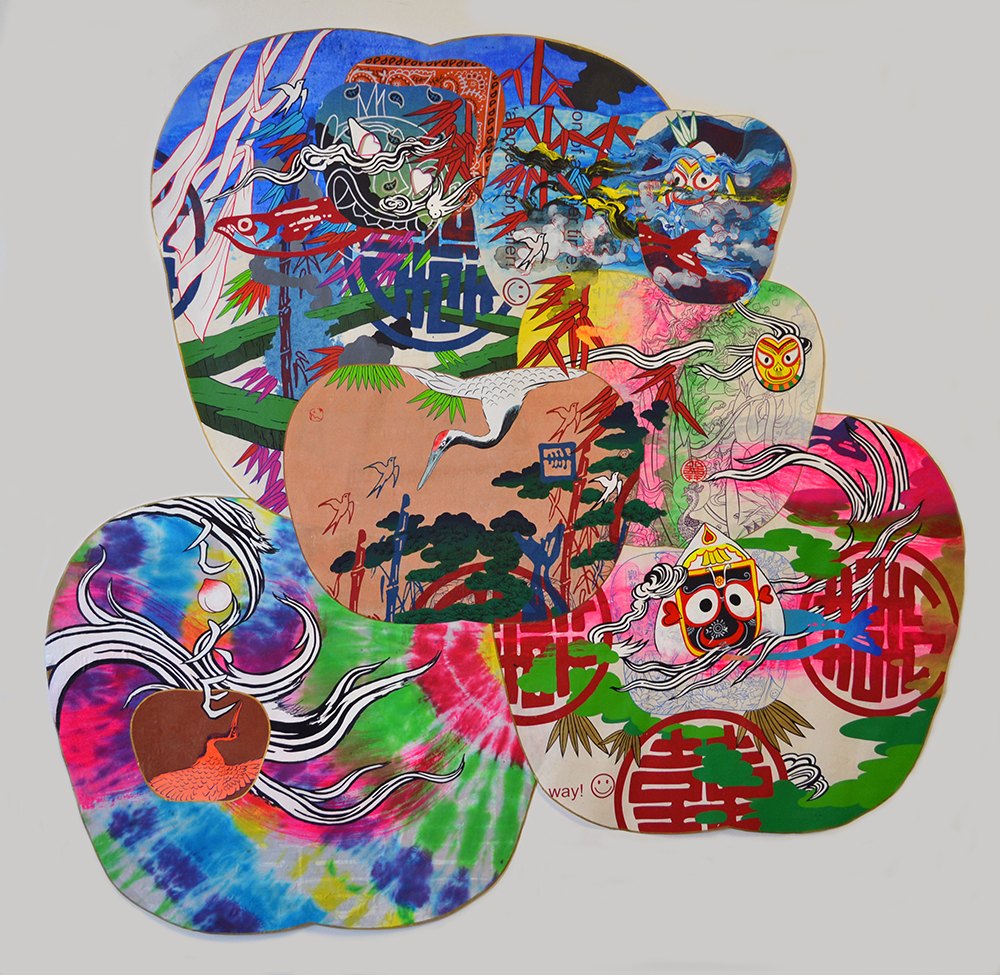 "Jiha Moon  Traveler  Ink & acrylic, screen print, tie-dye fabric on Hanji 48"" x 50.5"" 2013"