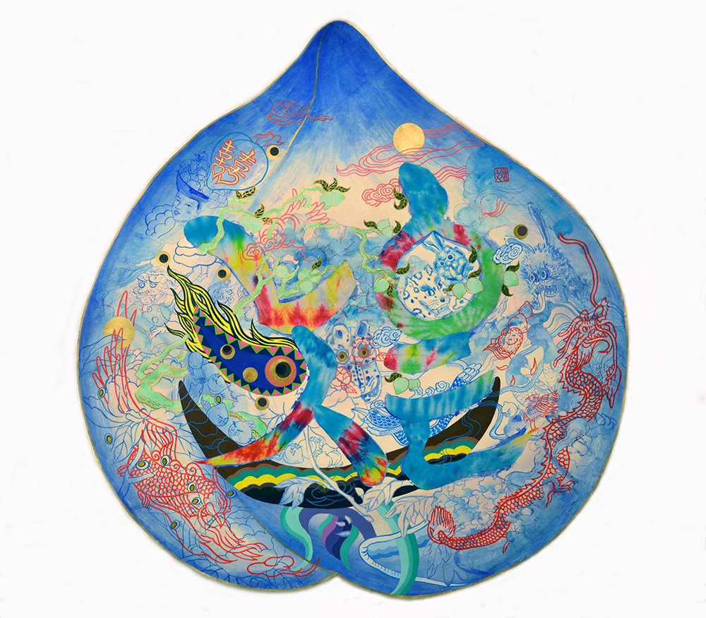 "Jiha Moon  Peach Mask IV (LOVE)  Ink, acrylic, tie-dye cotton fabric on Hanji paper 40.5"" x 38.5"" 2014"