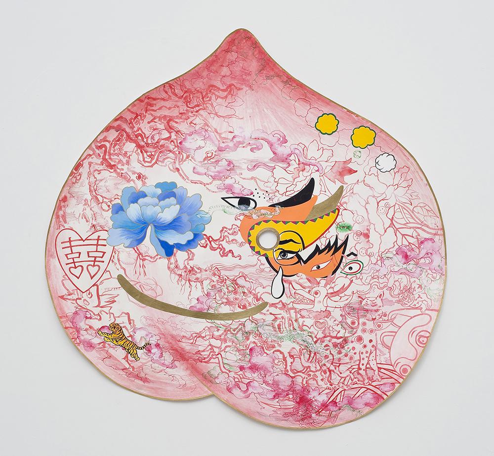 "Jiha Moon  Peach Mask II  Ink and acrylic on Hanji paper 38"" x 38.5"" 2013"