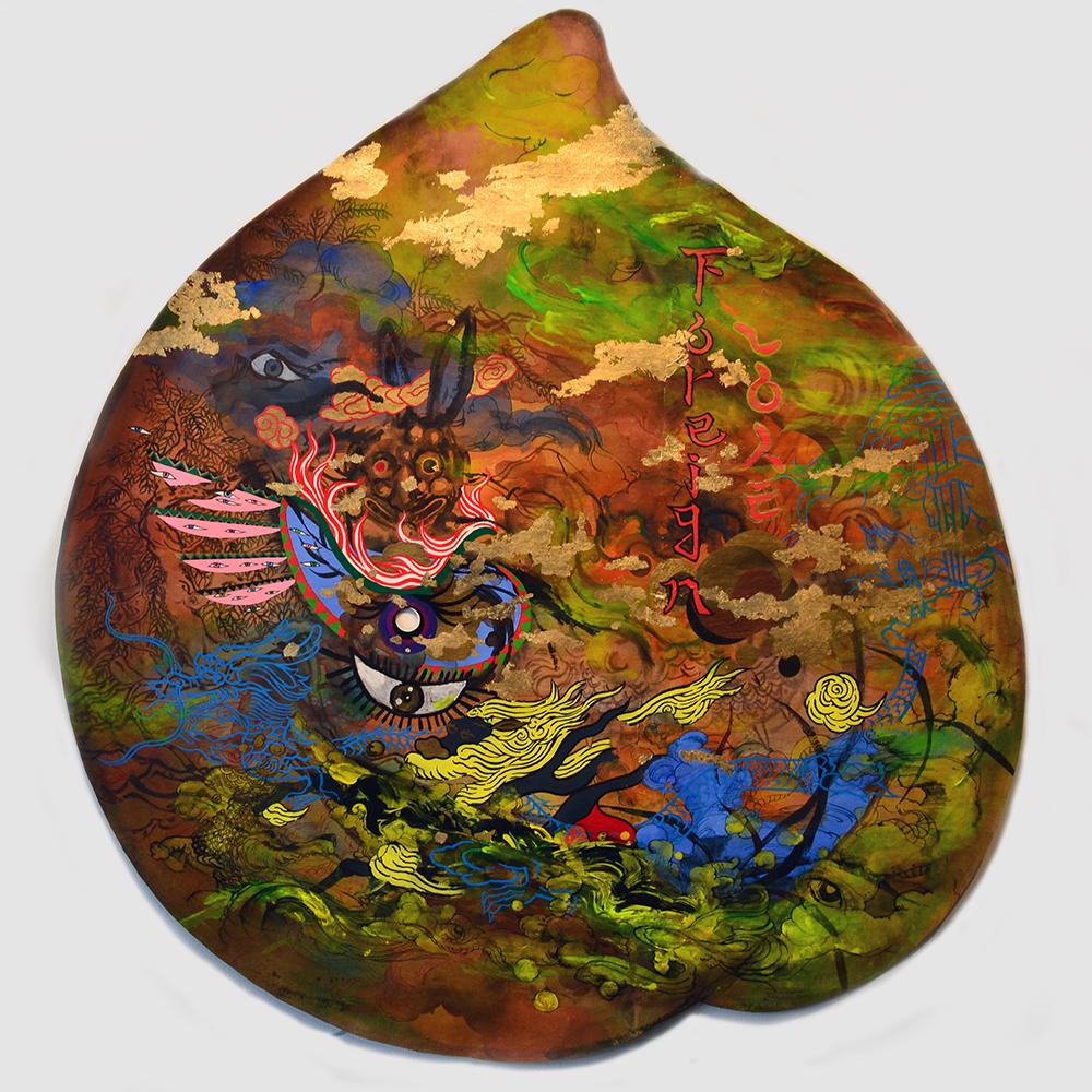 "Jiha Moon  Peach Mask V (Foreign Love)  Ink, acrylic, gold leaf on Hanji paper 35"" x 32.5"" 2014"