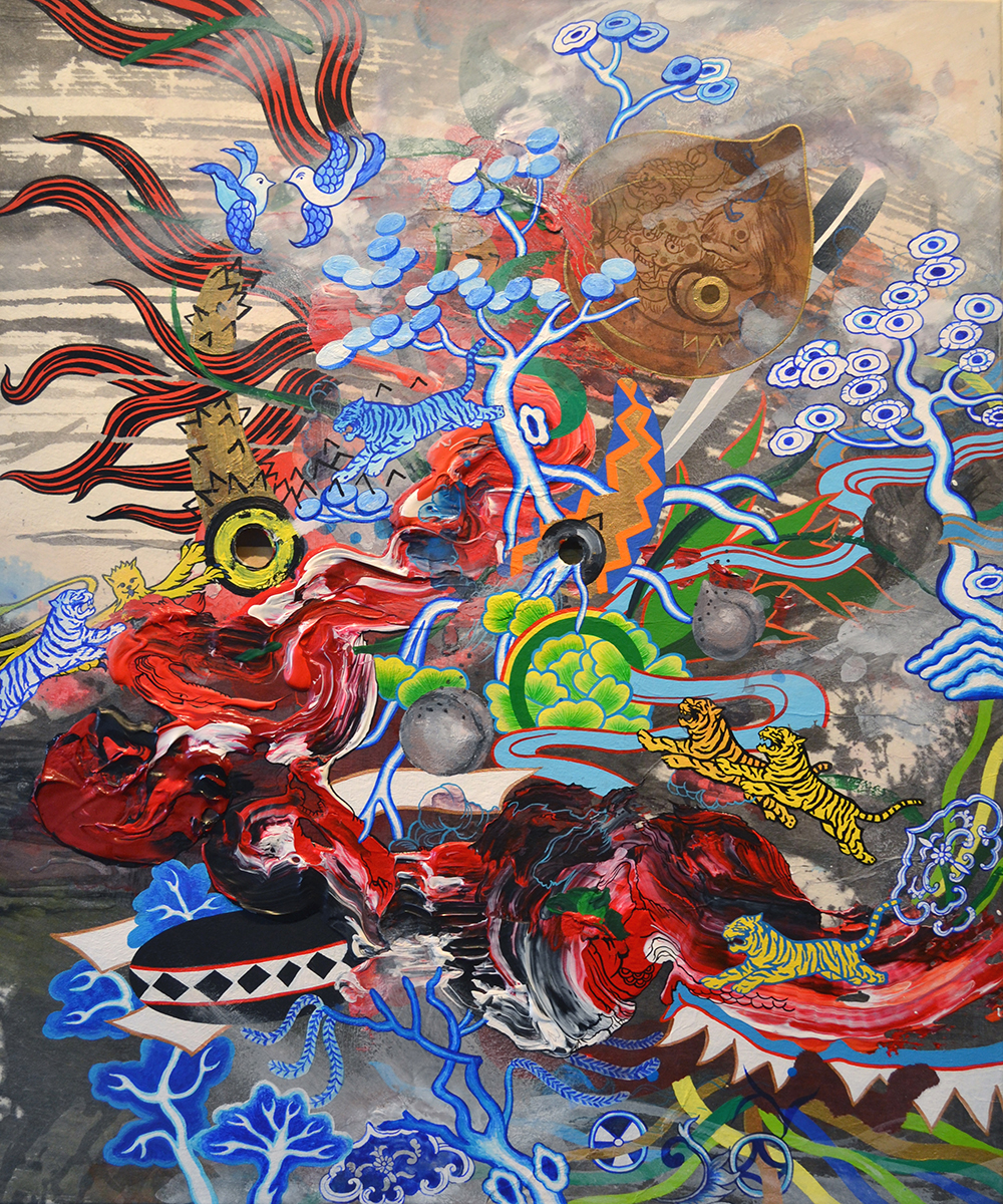 "Jiha Moon  Blue Willow Slope  Ink & acrylic on Hanji mounted onto canvas 24"" x 20"" 2014"