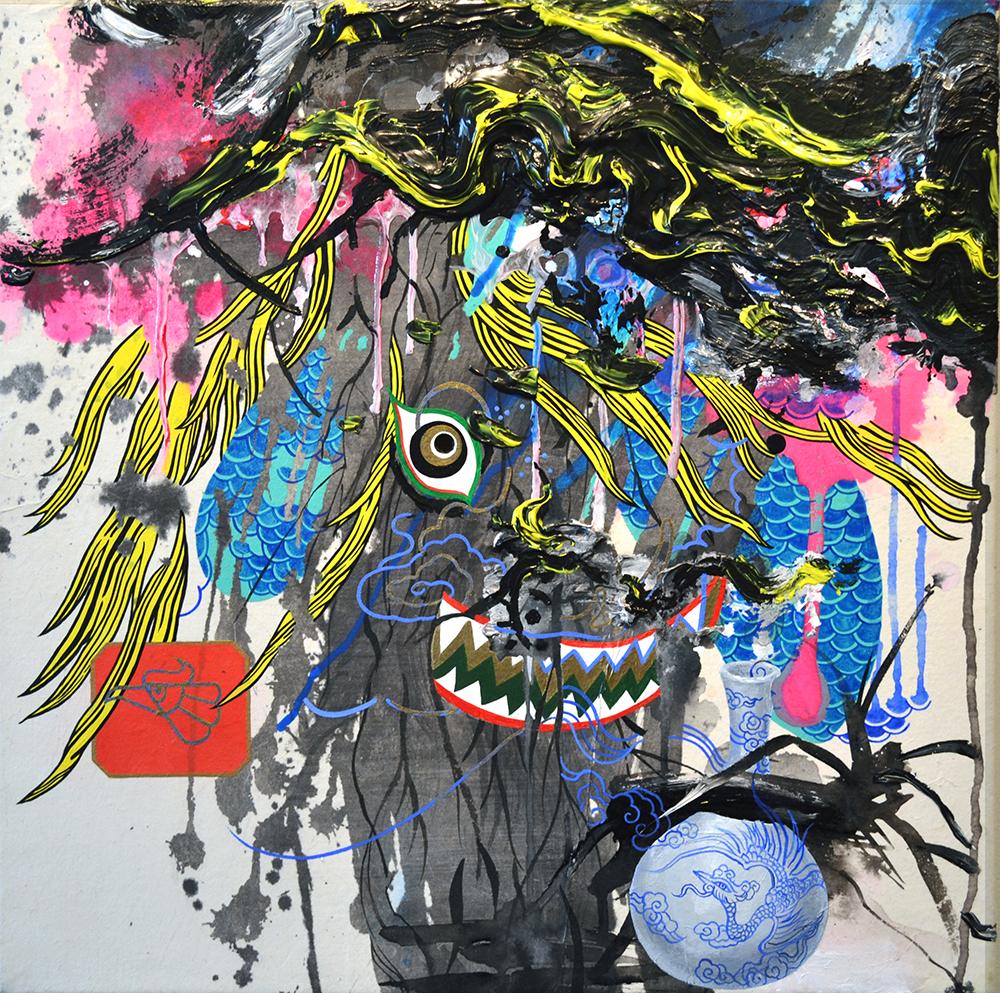"""Jiha Moon  Gak-Sul-Yi  Ink and acrylic on Hanji mounted onto canvas 18"""" x 18"""" 2014"""