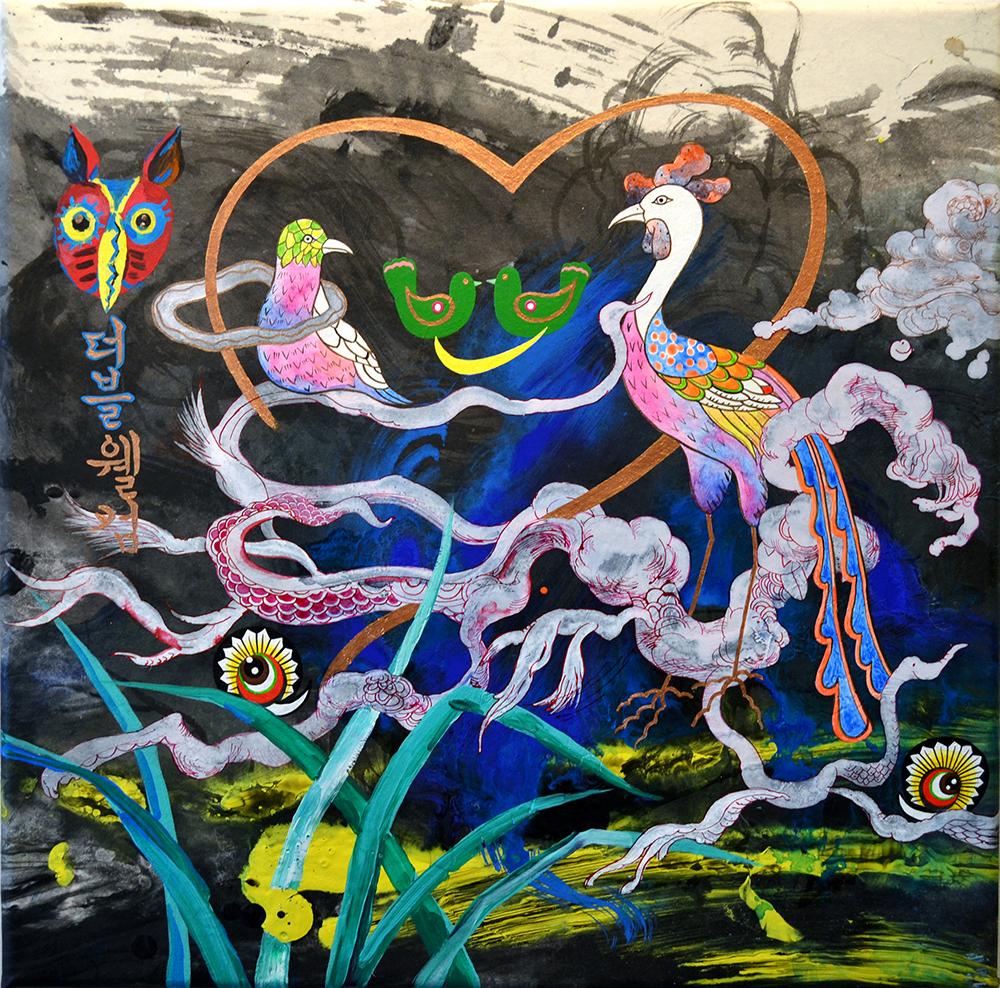 """Jiha Moon  Double Welcome  Ink & acrylic on Hanji mounted onto canvas 18"""" x 18"""" 2014"""
