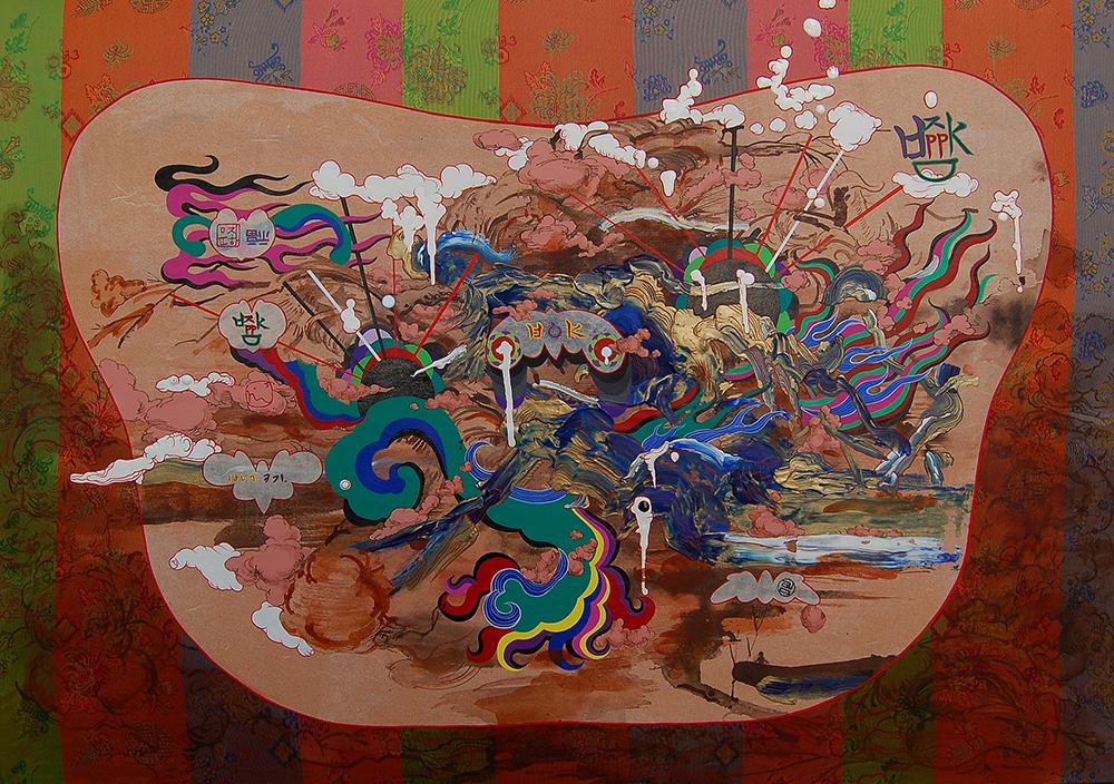 "Jiha Moon  Bat Bok  Ink & acrylic, fabric on Hanji mounted on panel 21.5"" x 30.5"" 2010"