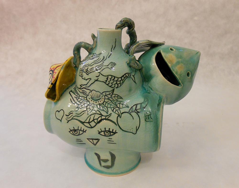 "Jiha Moon  La Sirena  Earthenware ceramic 8"" x 9.5"" x 5"" 2013"