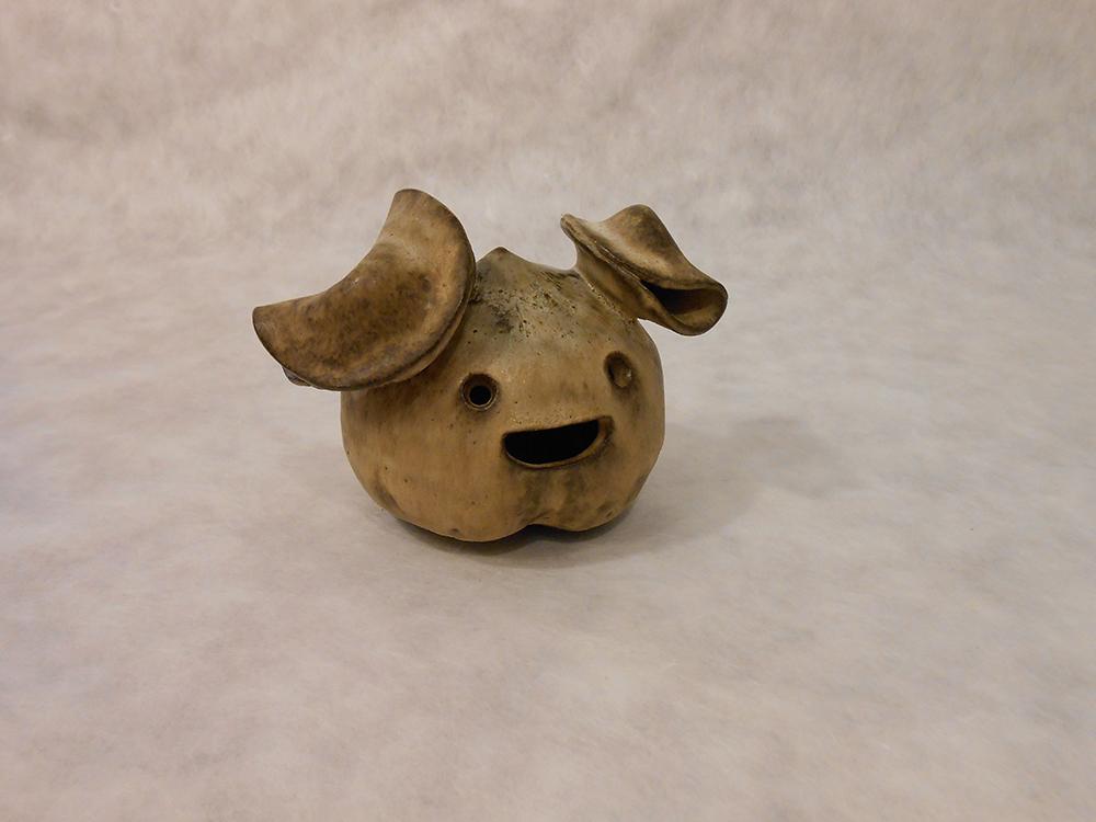 "Jiha Moon  Small Peach  Earthenware ceramic 5"" x 4"" x 5"" 2014"