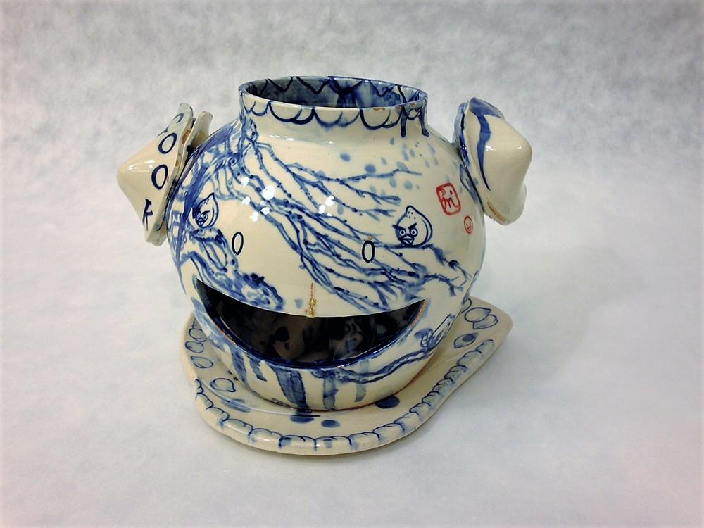 "Jiha Moon  Smiley Gook  Earthenware ceramic, resin, enamel 7.25"" x 10.25"" x 7.25"" 2014"