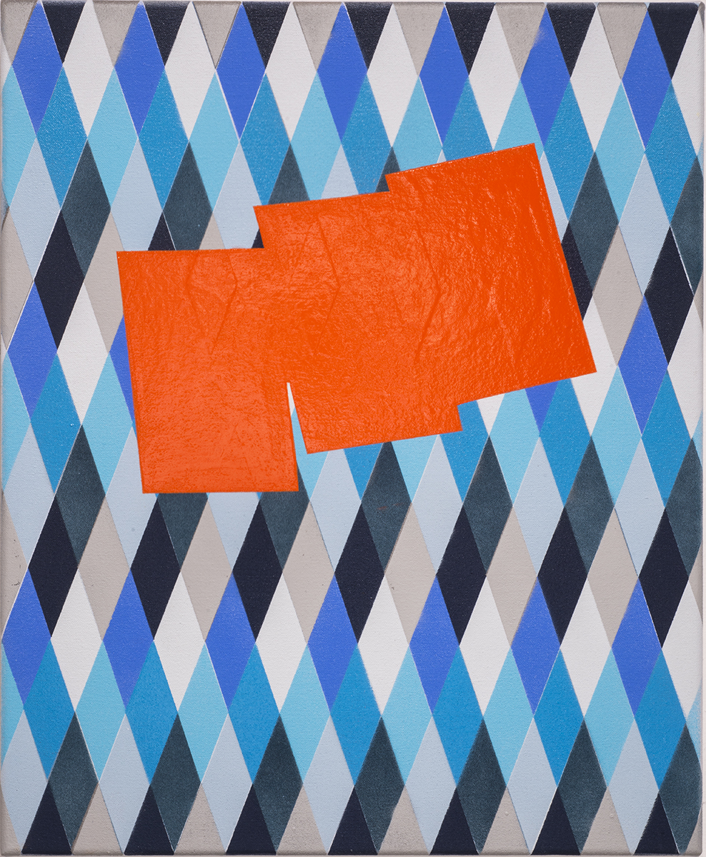 Tim Doud  PSMP (Orange)   17 x 14 in. Acrylic, Spray paint, oil enamel on canvas