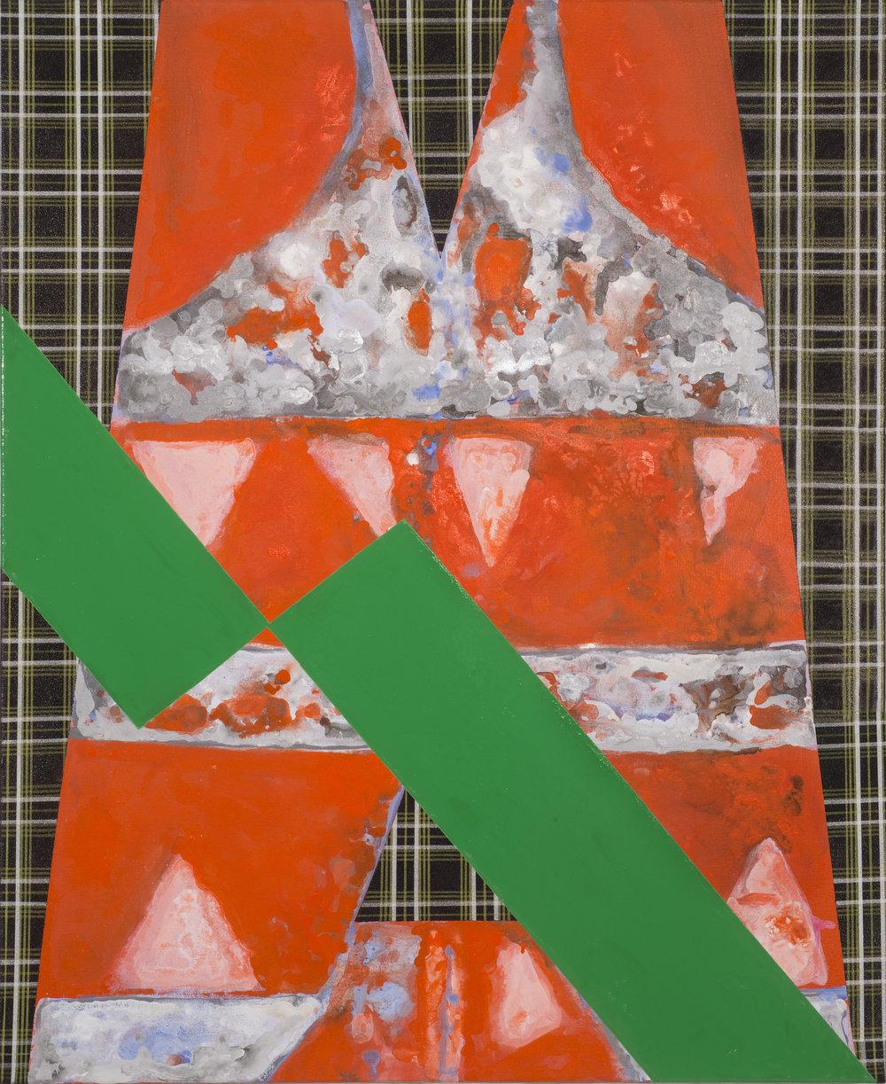 Tim Doud  WVBCH (Green) M  Acrylic, Flashe, Spray paint, oil enamel on canvas 2017