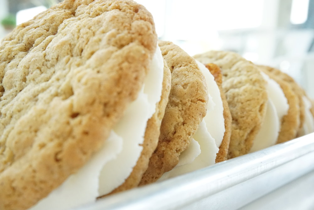 famous cookies & cookie sandwiches - classic $2.5 | gluten free $2.5 | vegan $3 | gluten free & vegan $3available varieties:chocolate chip | oatmeal | sugar | salted caramel | snickerdoodle*any cookie can be frosted for 50 centscookie sandwiches | $3.75 | not available everyday