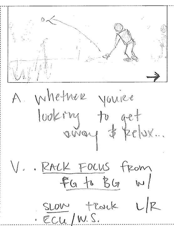 Storyboard frame from a golf commercial we produced.