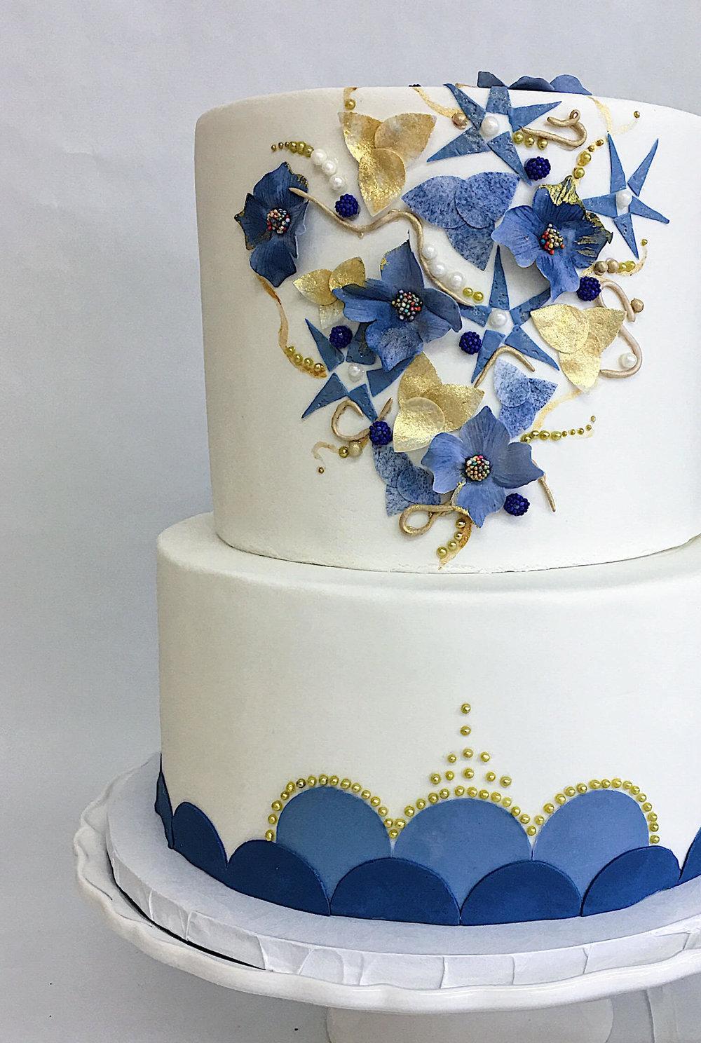 custom blue gold wedding cake handmade embellishment.jpg