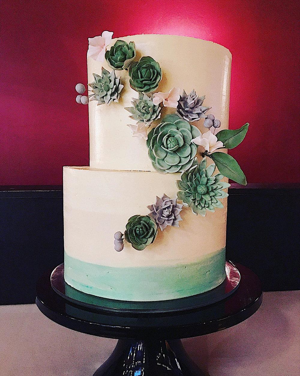 assymetrical buttercream wedding cake handmade sugar succulents.jpg