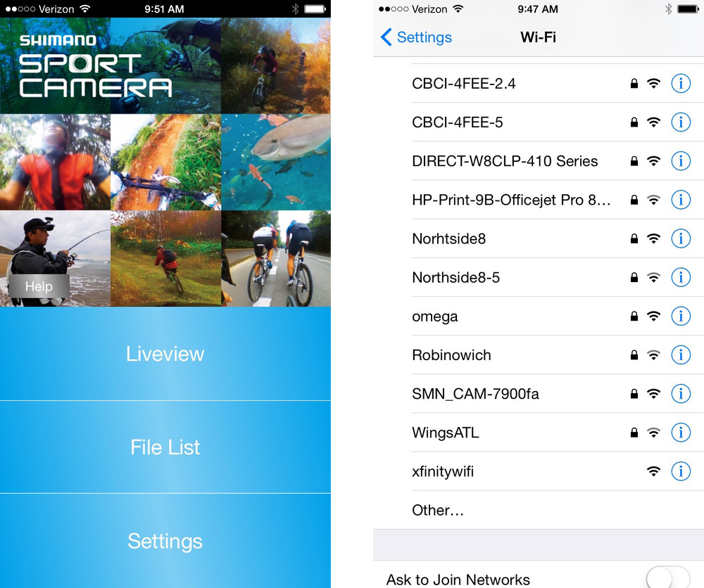 Home Screen, and selecting the Shimano Camera WiFi.