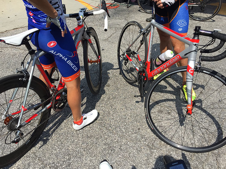 Racers from Alpha Bikes team racing sweet CAAD10s with SRAM Red builds.