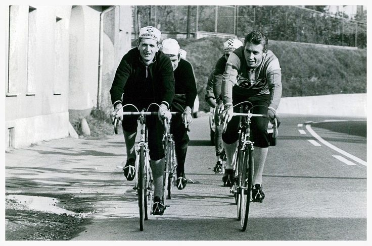 "UGH I'D LOVE TO BE ON THIS CHILL TRAINING RIDE WITH Jacques Anquetil, Raymond Poulidor and Eddy Merckx. The conversation would be so good. ""Remember that time I won the TDF? Hey, who's winning the TDF this year?"""