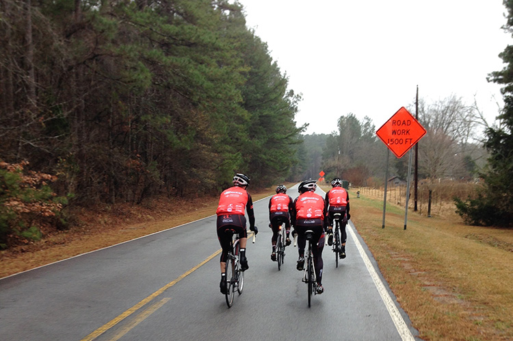 Doing some base miles with teammates.
