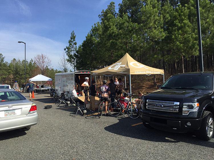 The GA Tech Tent and van.