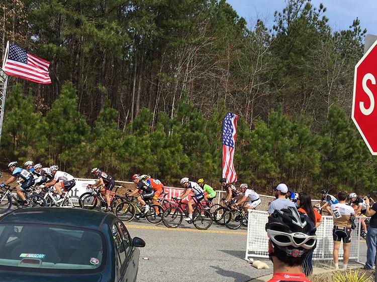 Peloton rolling through the climb.