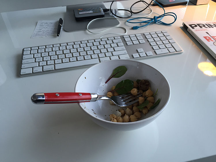 One of my regular lunches at the office - chickpeas with greens. I generally have lots of small meals through the day.