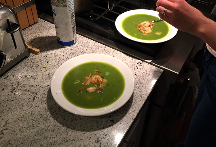 Pea soup with sauteed shrimp - I really like green pea soup.