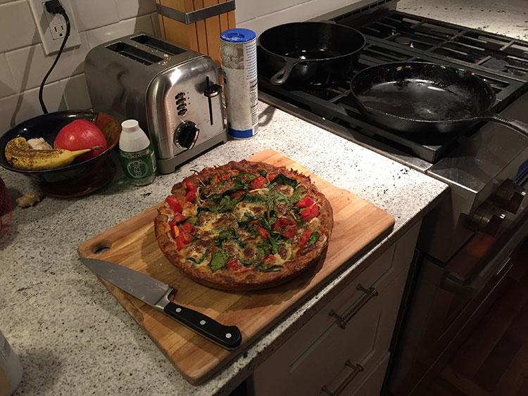 Skillet pizza - nice and crispy crust.