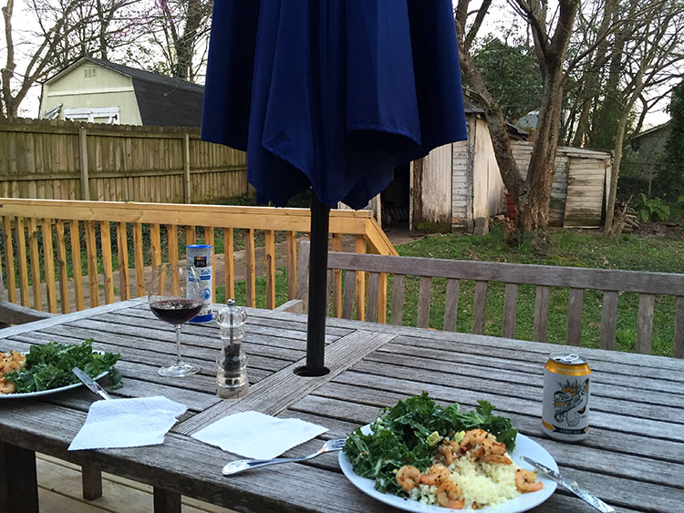 Weather's getting nicer and we can start eating outside again, like every good Atlantan will do. Kale salad, riced cauliflower and shrimp.