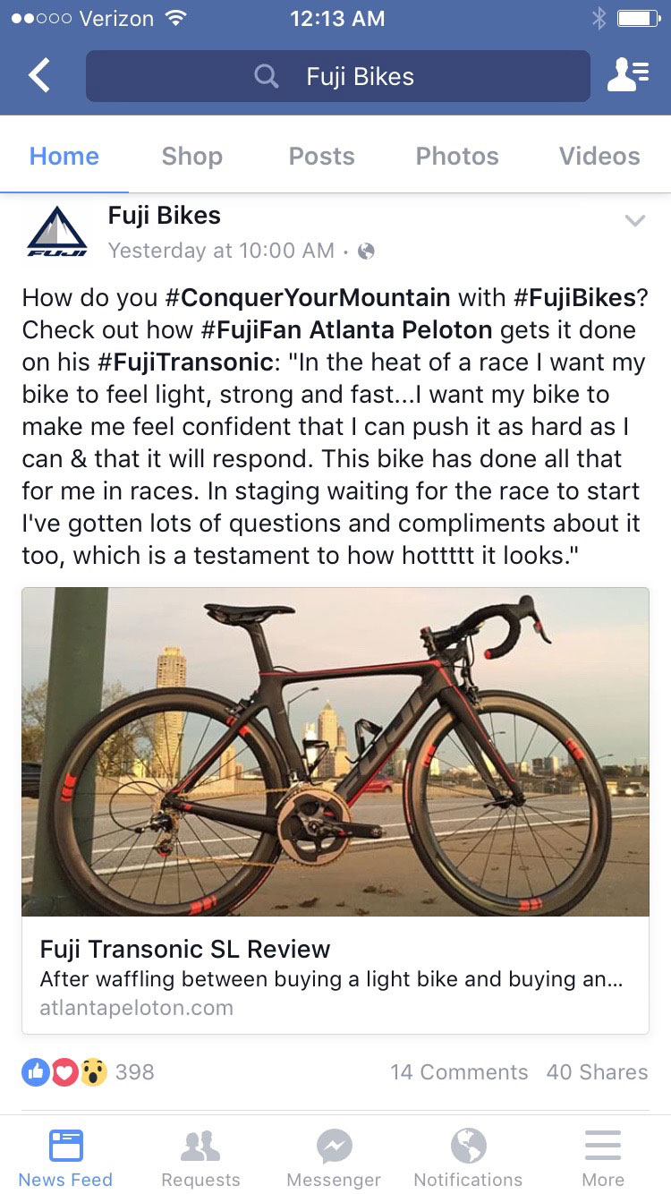 Woot woot got a shout out from Fuji Bikes!