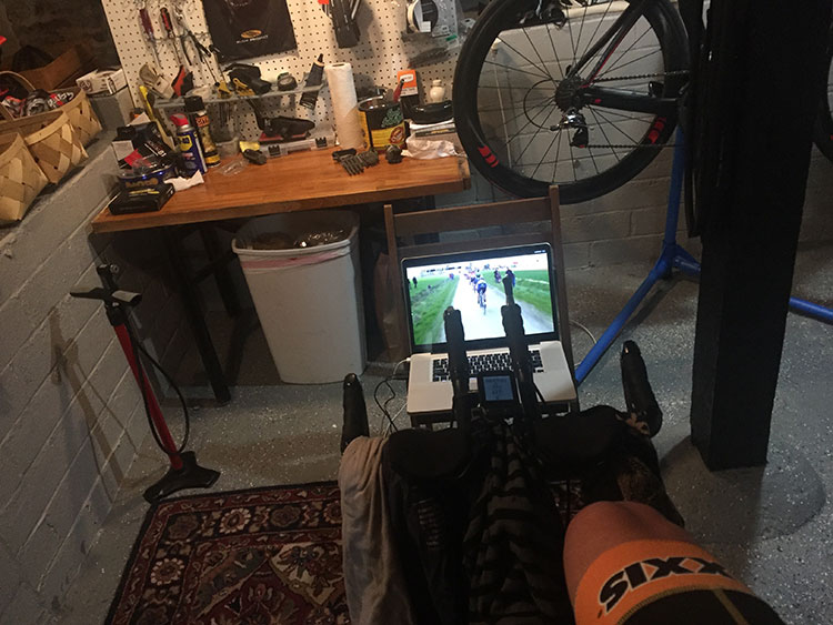 Streaming Paris-Roubaix. In the basement. On the trainer. As usual.