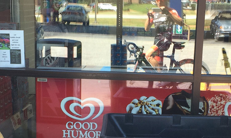 Store stop on team ride.